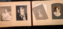 Load image into Gallery viewer, Nice leather photo album and antique Victorian era cabinet cards