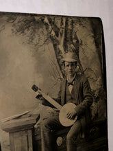 Load image into Gallery viewer, Excellent 1800s Tintype Photo of a Banjo Player / Musician - Antique Music Int
