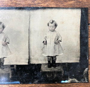 Unusual Uncut Unique 1860s 1870s Grumpy Little Boy in Dress Antique Tintype Photo