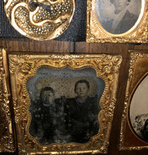 Load image into Gallery viewer, Photo Lot 1850s 1860s Black Mourning ? Ribbon Antique Button Tintype Ambrotypes