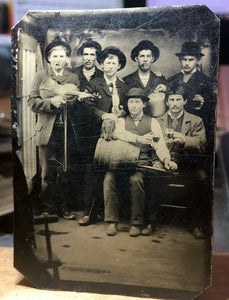 amazing tintype whiskey drinking cigar smoking men in wagon studio elephant toy!