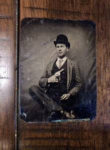 Antique 1/6 Tintype Photo Dime Store Hoodlum Showing Off Gun Hixson Tennessee