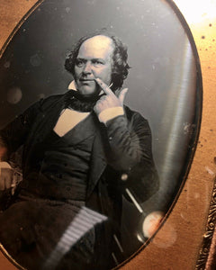 Unusual Half Plate Daguerreotype Bald Man Touching Face! Toothache? Secret Sign?