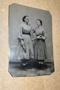 1860s Tintypes Photo Girls Holding Wooden Loom Shuttles Sewing Occupational int