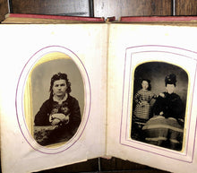 Load image into Gallery viewer, Antique Photo Album, Tintypes, CDV, Obituary, Brooklyn New York Iowa