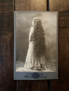 ID'd Woman Super Long Hair Back To Camera 1890s - Lowell Massachusetts
