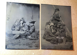 Great Set of Tintype Victorian Girls Having Picnic, Fishing, One Hidden Face