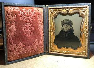c 1860 ambrotype photo handsome man in fantastic winter gear fur coat and hat
