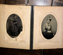 Load image into Gallery viewer, Leather Photo Album with Antique Tintypes & CDVs