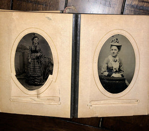 Leather Photo Album with Antique Tintypes & CDVs