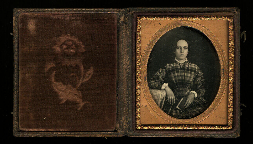 Sealed 1/6 Daguerreotype Identified Girl Holding Book Photographer S. Broadbent