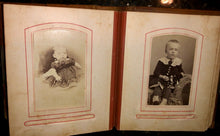 Load image into Gallery viewer, antique leather 1860s 1870s album with old 1800s photos tax stamps