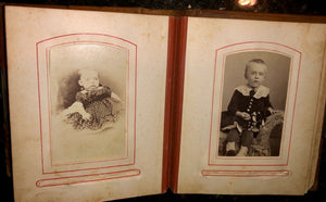 antique leather 1860s 1870s album with old 1800s photos tax stamps