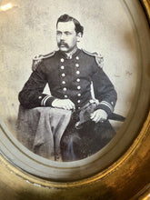 Load image into Gallery viewer, 1860s GERMON Large Albumen Photo in Wall Frame ID'd Naval Commander Died ON Ship