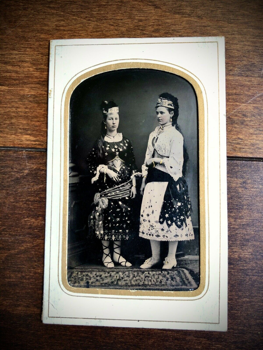 Excellent Antique Tintype Girls In Gypsy Witch Princess?? Costumes Stars Hearts