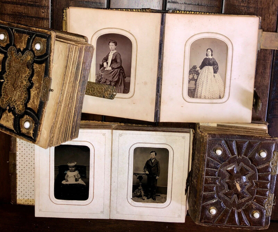 FOUR small albums +124 total antique photos tintypes cdvs (SA3)