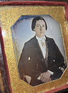 1840s Paper Mat Daguerreotype Well Posed Young Man Tinted Face & Hands Wisconsin