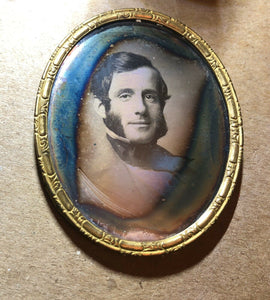 Daguerreotypes Handsome Smiling Man Sideburns + His Wife & Little Girl - Great!