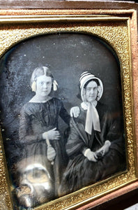 Daguerreotype Woman Holding Photo Case & Daughter Holding Purse by Chase, Boston