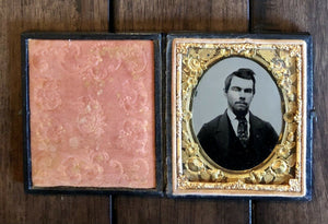 1850s 1860s 1/6 Tintype Photo Of Handsome Man - Interesting Unusual Mat!