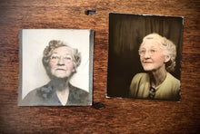 Load image into Gallery viewer, Grandma In Photobooth! Nice Tinting! Vintage Tinted 1940s Photo Booth Snapshots