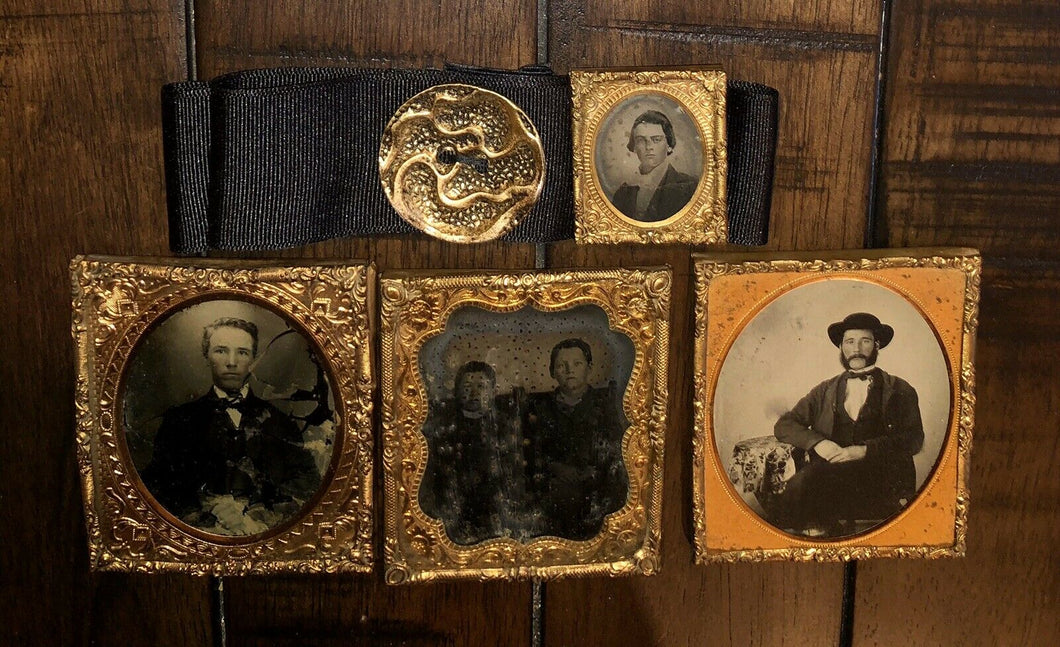 Photo Lot 1850s 1860s Black Mourning ? Ribbon Antique Button Tintype Ambrotypes