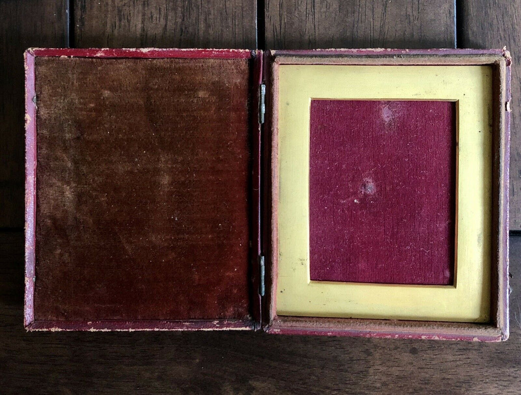 Empty Red Leather Hinged Photo Case & Heavy Square Mat - 1/4 Plate-ish