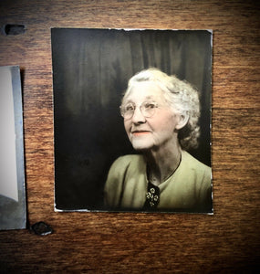Grandma In Photobooth! Nice Tinting! Vintage Tinted 1940s Photo Booth Snapshots