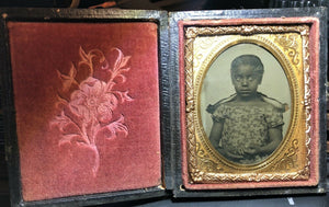 1850s 1860s Ambrotype Photo - Cute Little African American Girl - Slavery Era