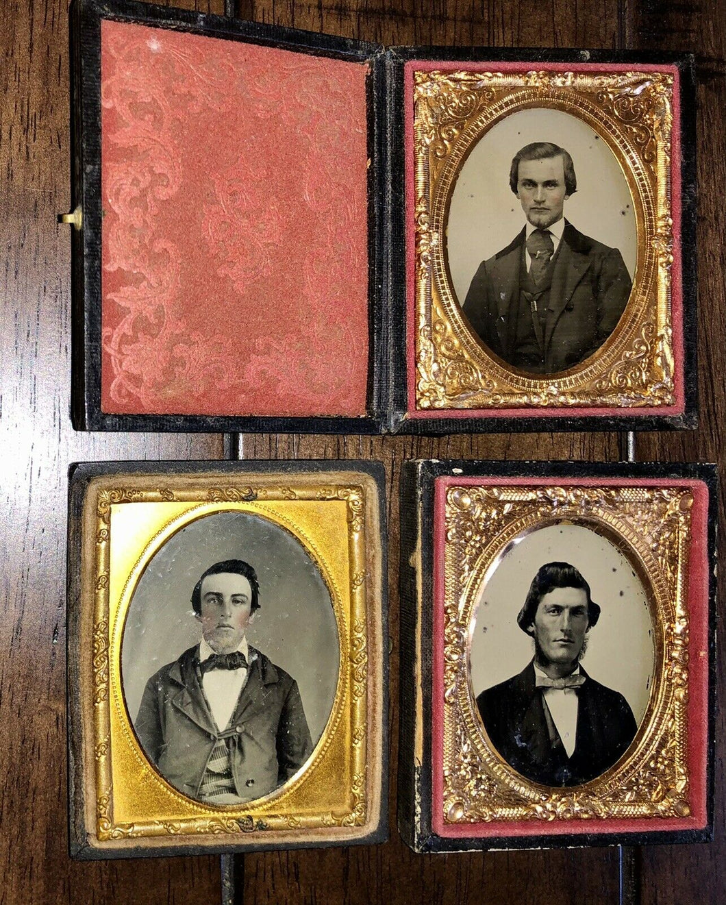 Three 1850s / 1860s Ambrotypes Of Men - One With Photographer Advertising Card