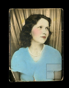Cutie in Tinted Blue Top - Pretty Girl - Vintage 1930s Photo Booth Photobooth
