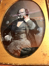 Load image into Gallery viewer, Unusual Half Plate Daguerreotype Bald Man Touching Face! Toothache? Secret Sign?