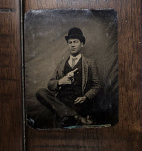 Load image into Gallery viewer, Antique 1/6 Tintype Photo Dime Store Hoodlum Showing Off Gun Hixson Tennessee