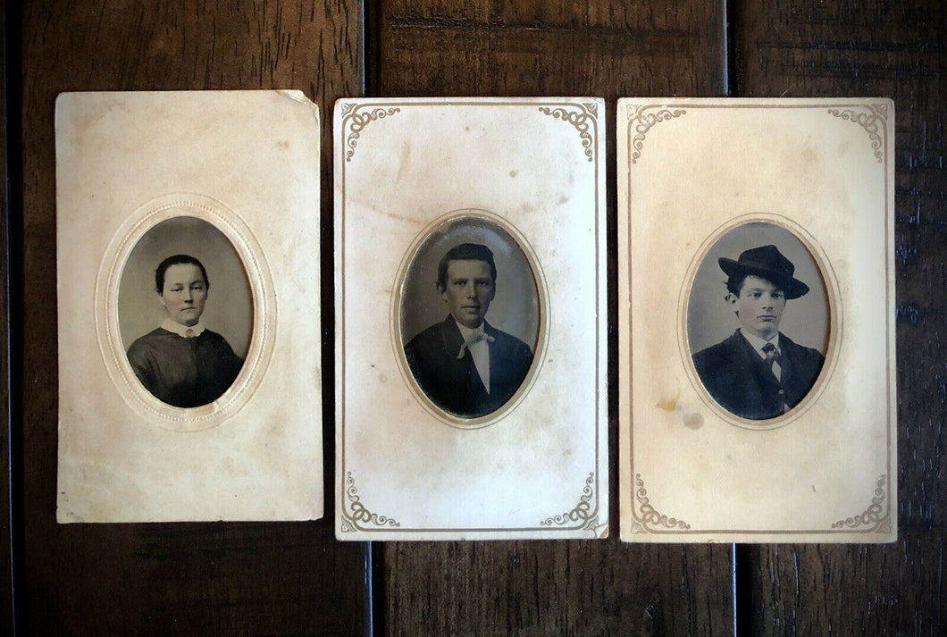 3 Southern Tintypes ID'd / Identified People fr. Georgia - Antique 1870s Photos