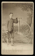 Load image into Gallery viewer, antique cdv man w star badge on hat posing w high wheel penny farthing bicycle