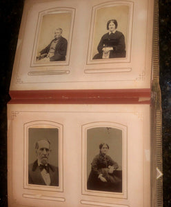 Leather album and lots of antique Victorian era photos tintypes cdvs