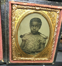 Load image into Gallery viewer, 1850s 1860s Ambrotype Photo - Cute Little African American Girl - Slavery Era