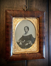 Load image into Gallery viewer, 1/4 Ambrotype Photo Beautiful Woman Wearing Mourning Bands? Hanging Wall Frame