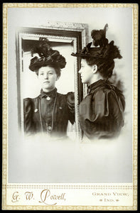 Beautiful Girl MYRTLE WOOLFOLK Doubled in Mirror Artistic 1890s Photo Indiana