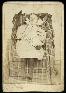 Post Mortem Photo Girl Holding Doll Worn but Interesting Creepy Composition