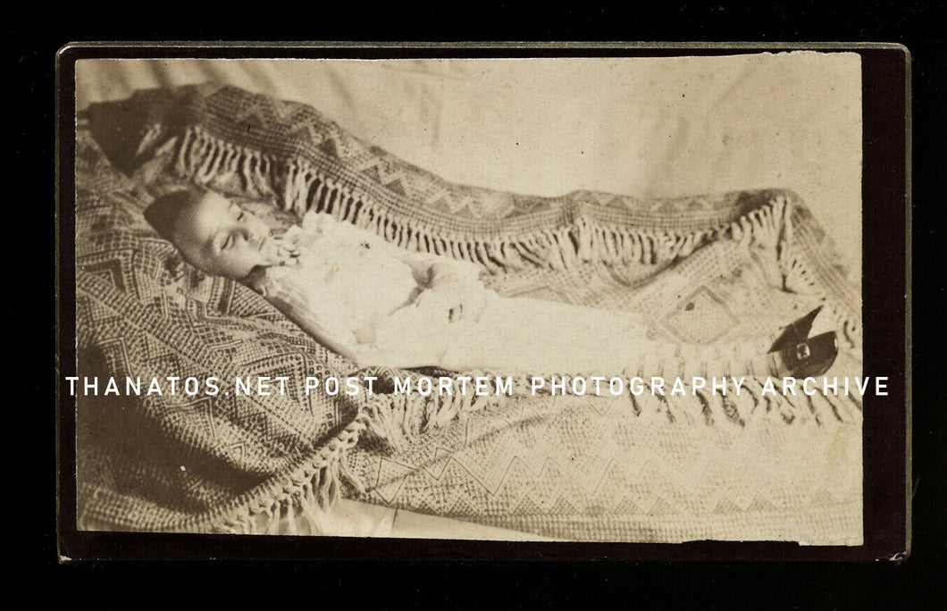 Post Mortem Little Girl Wearing Striped Socks c1880 Pennsylvania CDV Photo
