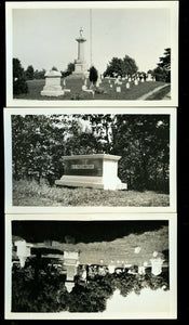 Three Vintage Snapshot Photos Lakeview Cemetery South Haven Michigan / Graveyard