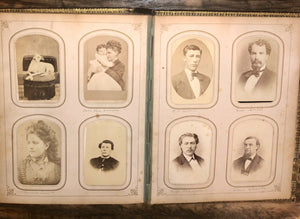 HQ 1860s Photo Album 104 CDVS Tintypes Dogs Hidden Mother Civil War Soldier Many ID