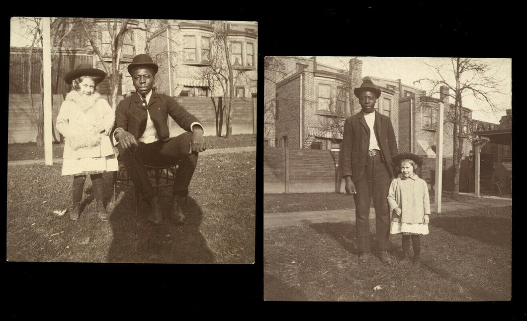 Antique Snapshot Photos African American Boy & Little Girl / Photographer Shadow