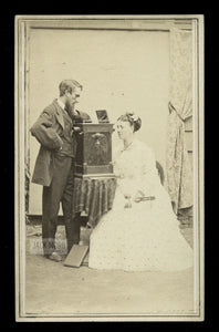 New Jersey Photographer Vernon Royle & Wife / Rare 1860s CDV Photo