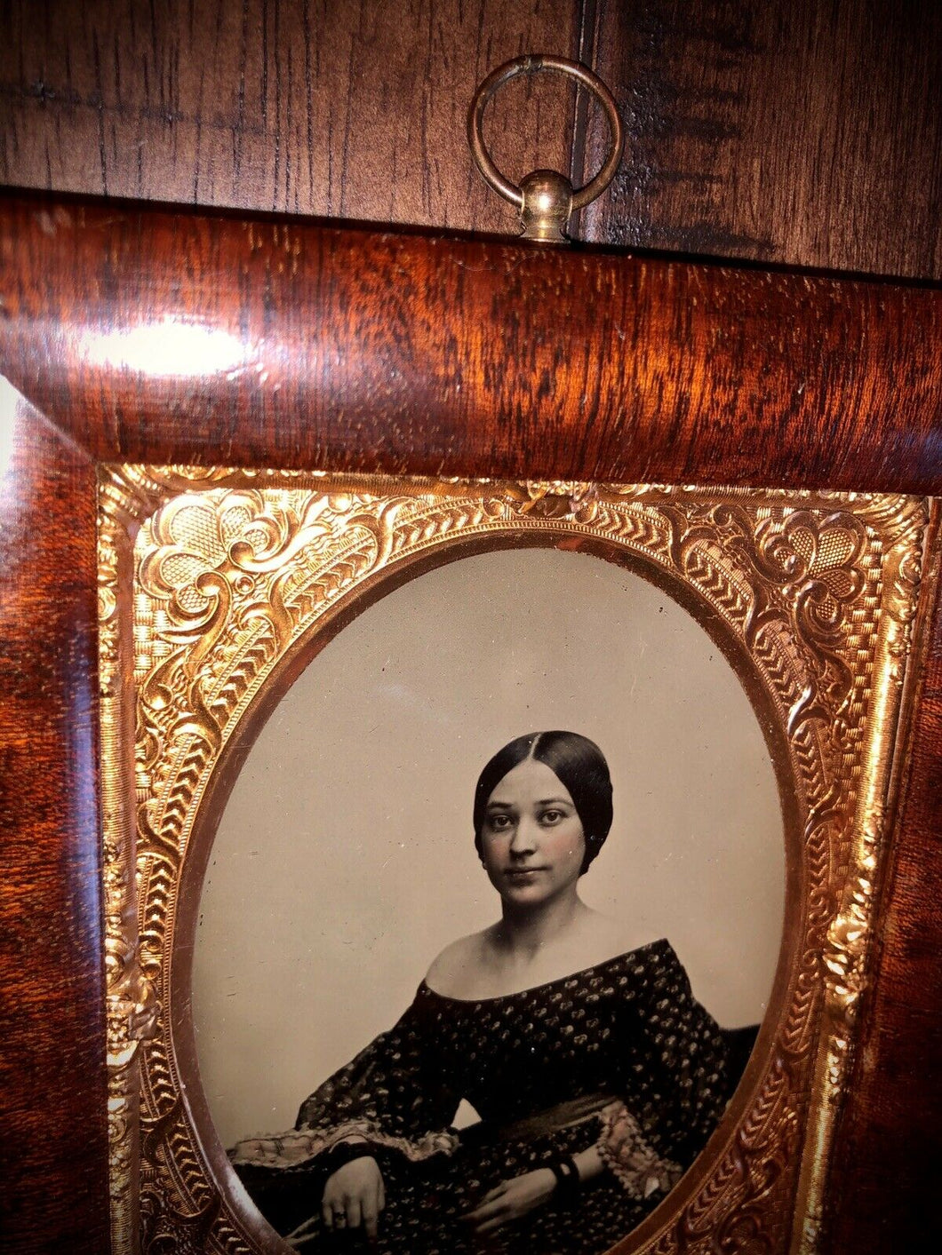 1/4 Ambrotype Photo Beautiful Woman Wearing Mourning Bands? Hanging Wall Frame