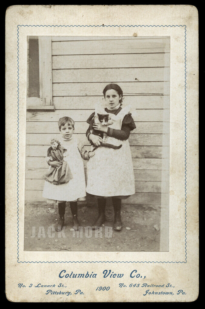 Antique Johnstown Pennsylvania Cabinet Card Photo Boy & Girl Holding CAT & DOLL