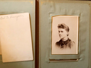 Antique photo album mourning widow Cabinet Cards tintype CDV