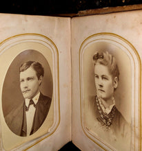 Load image into Gallery viewer, antique photo album 35 1860s & 1870s CDVs and Tintypes - Wisconsin
