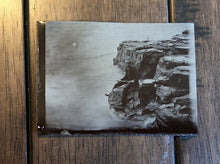 Load image into Gallery viewer, unusual tintype - rare antique outdoor view photo man holding fishing pole 1800s